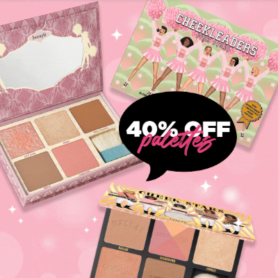 Get 40% off our favourite Benefit blush, bronze and highlight palettes!