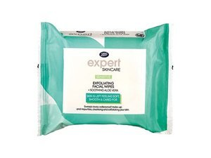 Expert Sensitive Exfoliating Facial Wipes + Soothing Aloe Vera 25S