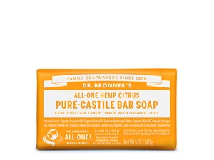 Dr. Bronner All-One Hemp Citrus Pure-Castile Orange Bar Soap