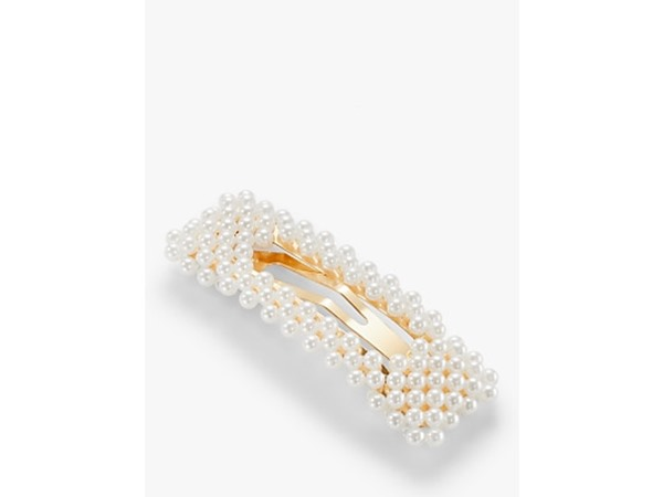 Rectangular Faux Pearl Hair Clip