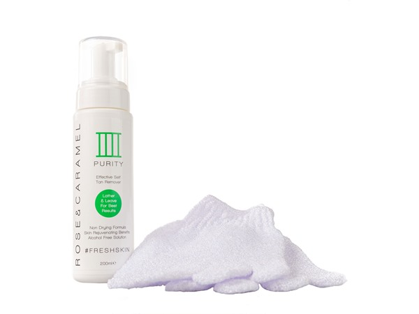 Rose & Caramel Purity Self Tan Removing Foam  & Exfoliating Gloves
