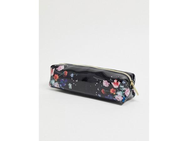 Evanne Sandalwood Floral Make-Up Brush And Pencil Case In Black